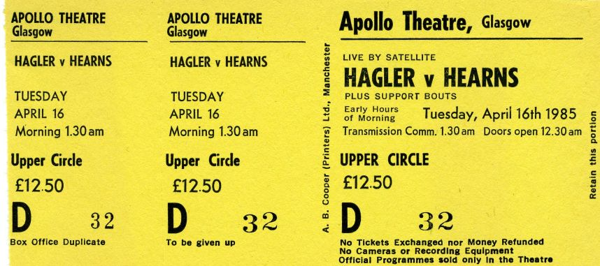 Hagler & Hearns Glasgow Apollo Ticket Stub