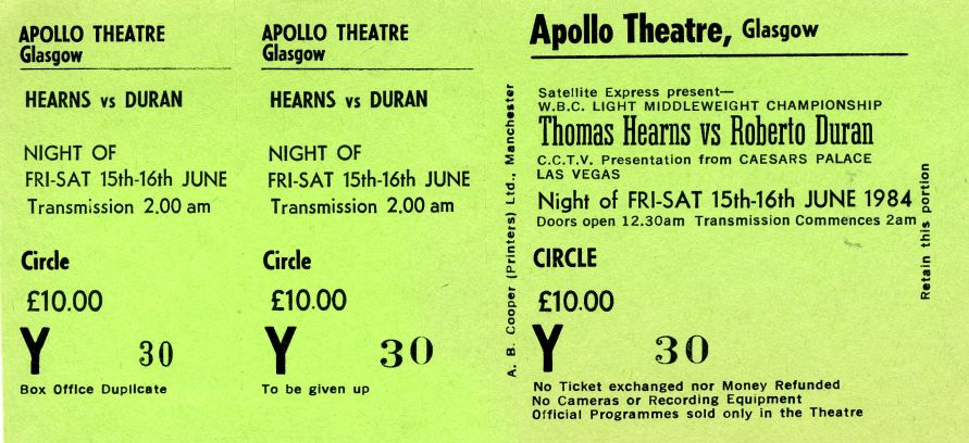 Hearens v Duran Glasgow Apollo Ticket Stub
