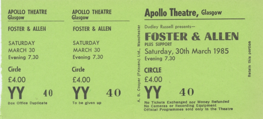 Foster and Allen Glasgow Apollo Ticket Stub